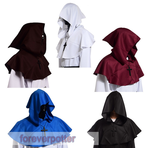 top popular Medieval Hooded Hat Wicca Pagan Cowl with Cross Necklace Medieval Cosplay Accessory 5 Colors Halloween Gifts 2019