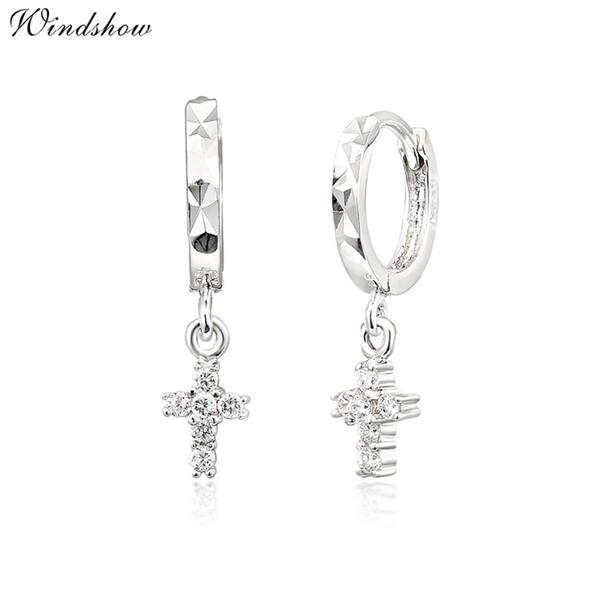 Wholesale- Real 925 Sterling Silver CZ Cross Charm Drop Small Circle Huggies Hoop Earrings Cute Jewelry For Women Girls Kids Children Gift