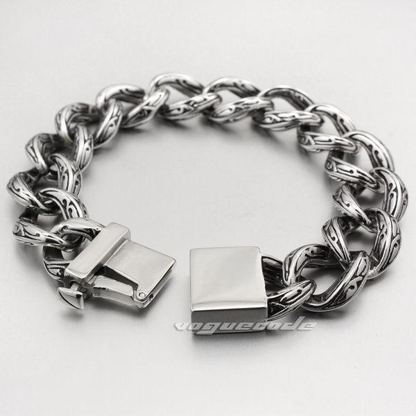 Solid 316L Stainless Steel Various Length Mens Rocker Bracelet 5C017