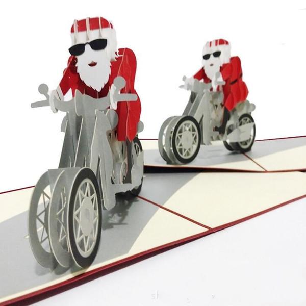 Compre Santa Motocicleta Kirigami Origami 3d Pop Up Tarjetas De Felicitación Tarjeta De Invitación Para La Boda Regalo De La Fiesta De Cumpleaños De