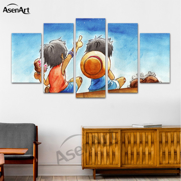 5 Panel Hanging Canvas Art Room Cartoon Posters Prints Painting for Living Room Dining Room Decorative Framed Ready to Hang Dropshipping