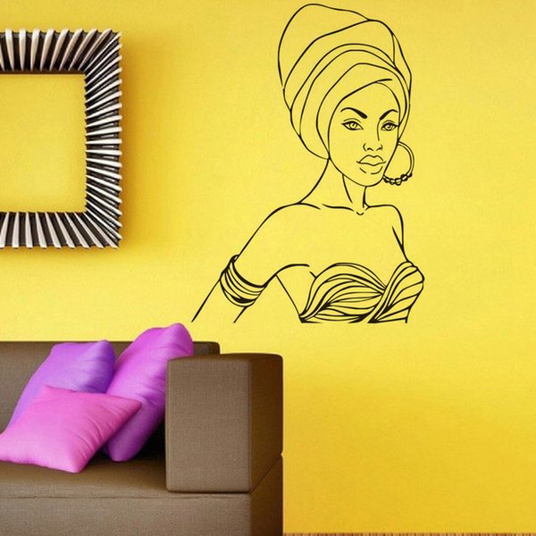Beautiful African Woman Wall Stickers Vinyl Removable Adhesive Wall Decals Interior Wall Décor