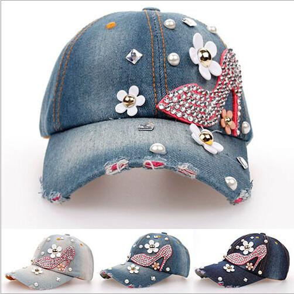 Wholesale-2015 new Retail Diamond Point High-heeled shoes denim caps women baseball cap men Hats rhinestone print