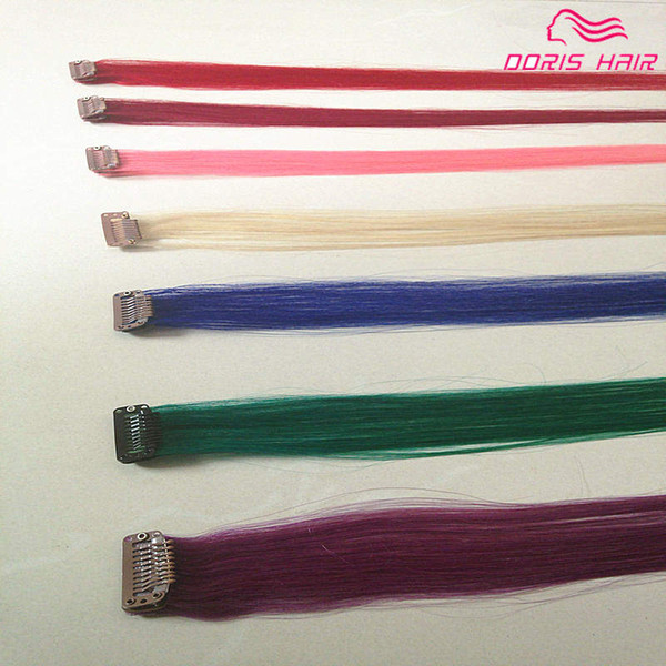 Mix colors human hair 10pcs colorful clip in Hair Extensions PINK BLUE BURG PURPLE Remy clip on Hair products Free Shipping