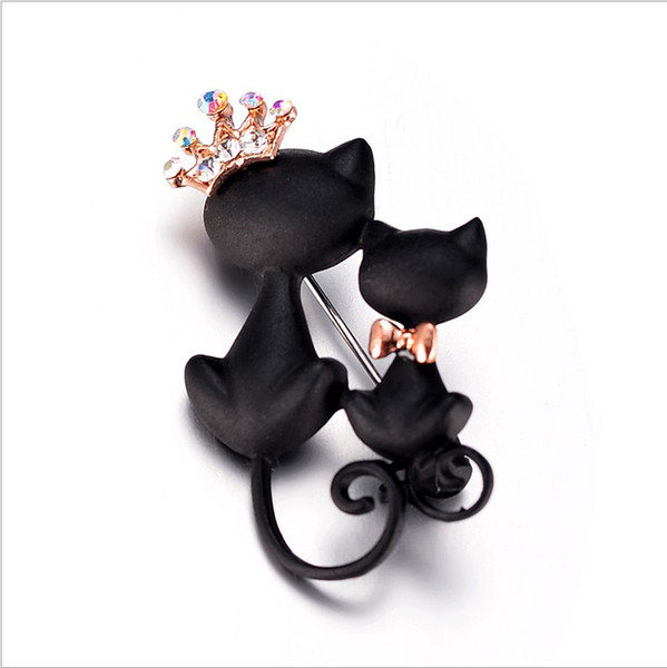 Mysterious Elegant Black Cat Pins Brooches 18k Gold Plated Pins Crown Crystals Brooches Brooch Bouquet Champagne Rhinestones Christmas Gift