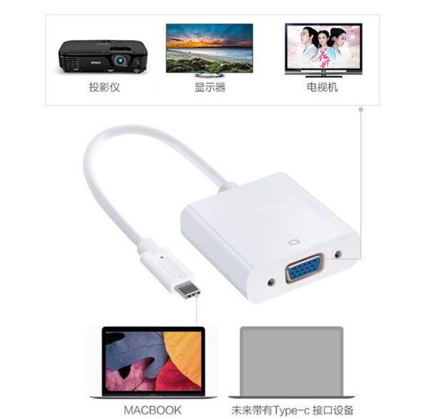 Aluminium head USB-C USB 3.1 Type C Male to VGA Female Adapter Cable 1080P HD For Macbook PC Laptop