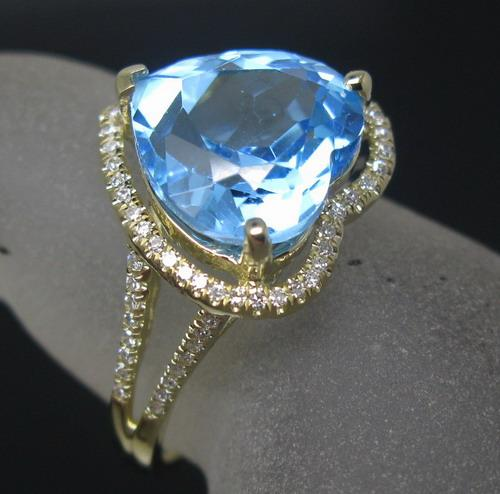 Free Shipping Solid 14K Yellow Gold Genuine Natural Diamond Blue Topaz Engagement Ring(R0084)