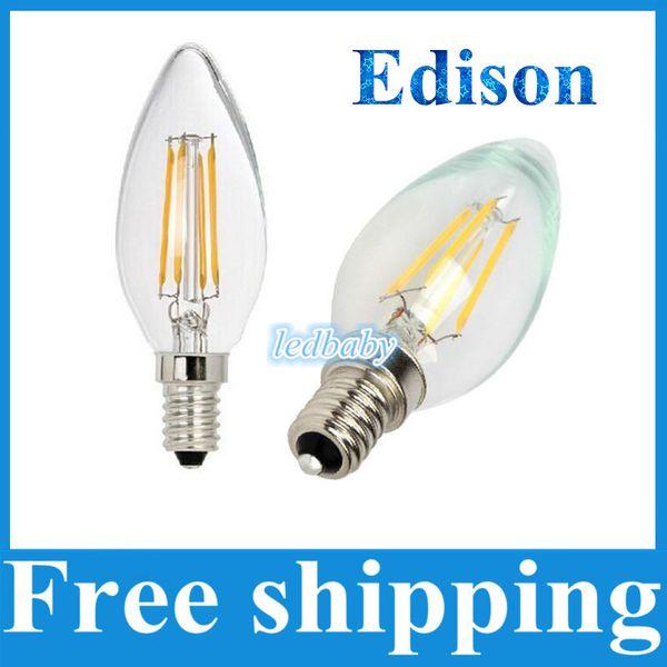 Regulable Realmente suficiente vatio 2W 4W LED Filamento Retro Edison Vela luz E14 220V 110v COB Lámparas LED Pantalla de vidrio Bombilla Lámpara 360Degree