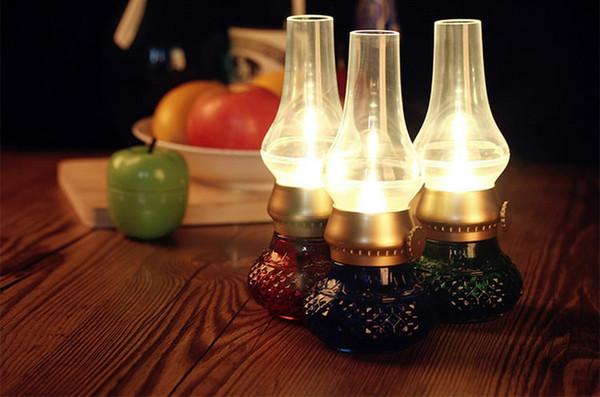 LED Retro Lamp blow Novelty KEROSENE Lighting USB Rechargeable Blowing Kerosene Adjustable Blow On-Off Night Light Home Decroration