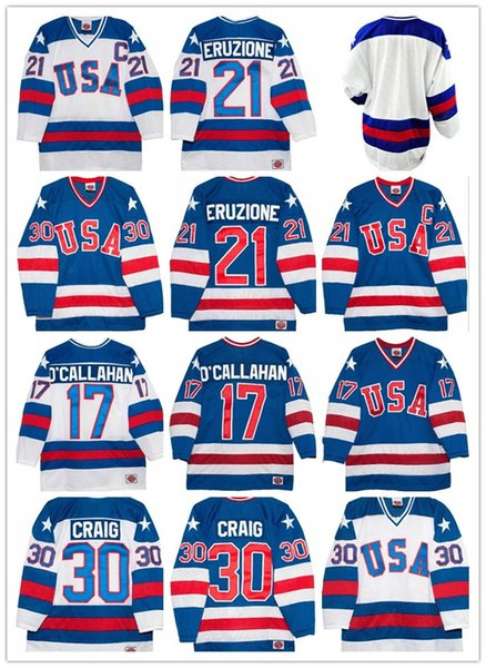 1980 Retro USA Hockey Trikots 21 Mike Eruzione 30 Jim Craig 17 Jack O'Callahan 1980 USA Vintage Hockey Trikot Blank Home Weiß Weg Blau