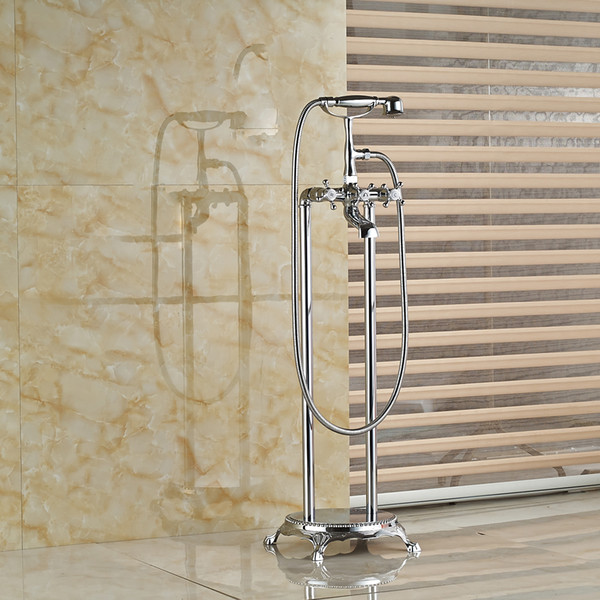 top popular Wholesale And Retail Polished Chrome Brass Bathroom Tub Faucet W  Hand Shower Mixer Tap Clawfoot Free Standing Dual Legs Mixer 2021