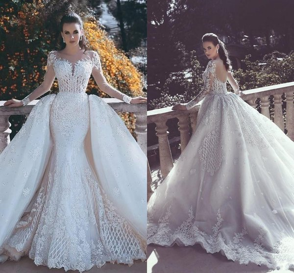2018 Mermaid Wedding Dresses Sweetheart Full Lace Appliques Beads Illusion Long Sleeves Sheer Open Back Overskirts Ruffy Formal Bridal Gowns