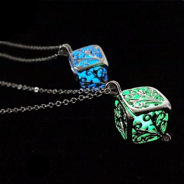 New Arrive Glow in Dark Pendant Necklace Luminous Cage Pendant Fashion Silver Chain Fit Square Pendant Necklace 20pcs/lot 3 Colors