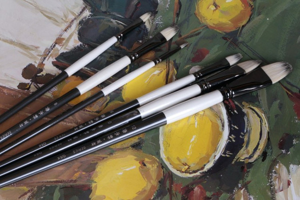 Wholesale-6Pcs/Set Qishuixuan Bristle Blend Oil Painting Brush Thick Hard Brushes To Paint Acrylic Paints For Drawing Artist Paint Brush