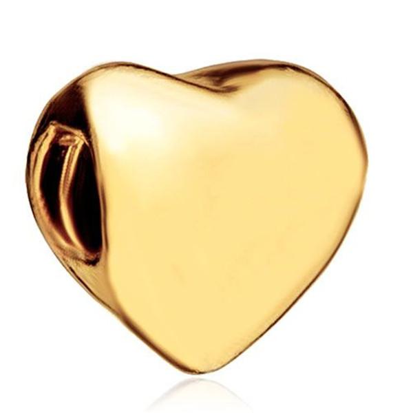 Large Hole Valentine's Day Gold and Rhdium Plating heart Love Charm European bead Fit Pandora Chamilia Biagi Charm Bracelet
