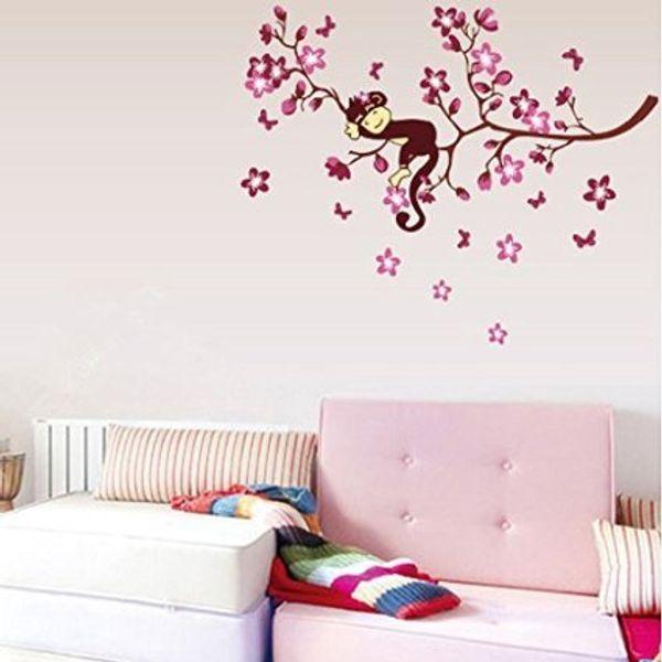 Lovely Nursery Wall Decal Sticker Sweet Monkey dreaming on Tree Branch Wall Art Poster Mural for Living Room Bedroom Children Room Wallpaper