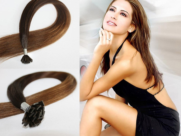 "grade 5A-1g /s 100g/pack Indian remy Italian keratin flat tip hair extensions 16""-26"" 8# light brown dhl free shipping"