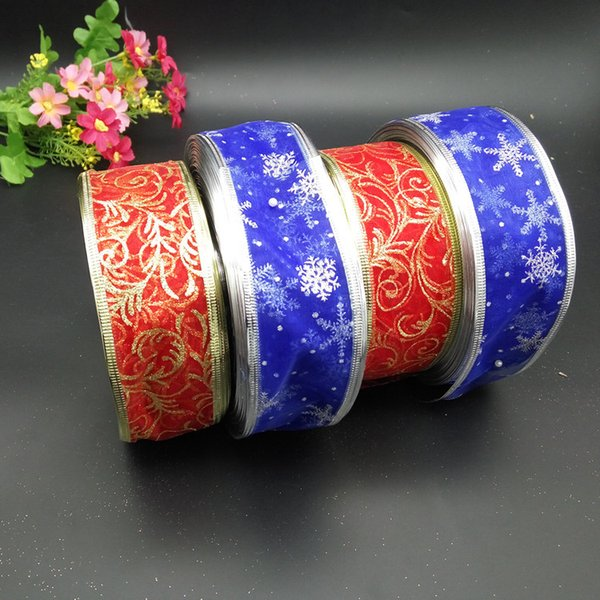 2018 new hot sale Christmas decorations festive supplies bow ribbons printing ribbons blue snowflakes red printing free shipping