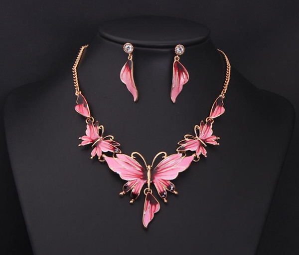 Women 18k Yellow Gold Plated Austrian Crystal Enamel Jewelry Sets flower 4 Colors Jewelry Sets Chain Necklace + Earrings sets