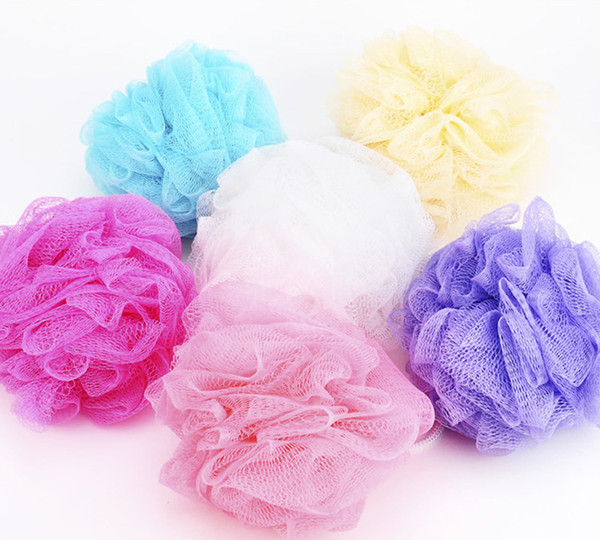 best selling High Quality Mesh Pouf Sponge Bathing Spa Shower Scrubber Ball Colorful Bath Brushes Sponges Free Shipping
