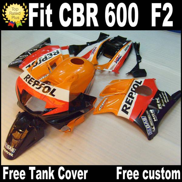 Carene moto per HONDA CBR 600 1991 1992 1993 1994 F2 CBR600 91 - 94 carter in plastica REPSOL nero arancio RP14