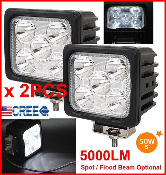 "2PCS 5"" 50W CREE 5LED*10W Driving Work Light Square Offroad SUV ATV 4WD 4x4 Spot / Flood Beam 9-30V 5000lm High POWER Truck Forklift Bright"