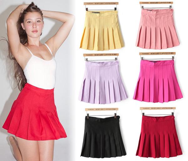 2014 Estate New Lovely Cute Candy Colorful pieghe arricciato a vita alta Impero Tennis Skater A-line Flare Slim Fit Mini gonna casual
