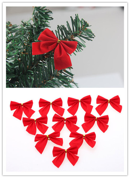 2017 Christmas decorations Christmas tree hang decoration Small bowknot red gold and silver 12 dresses free shipping
