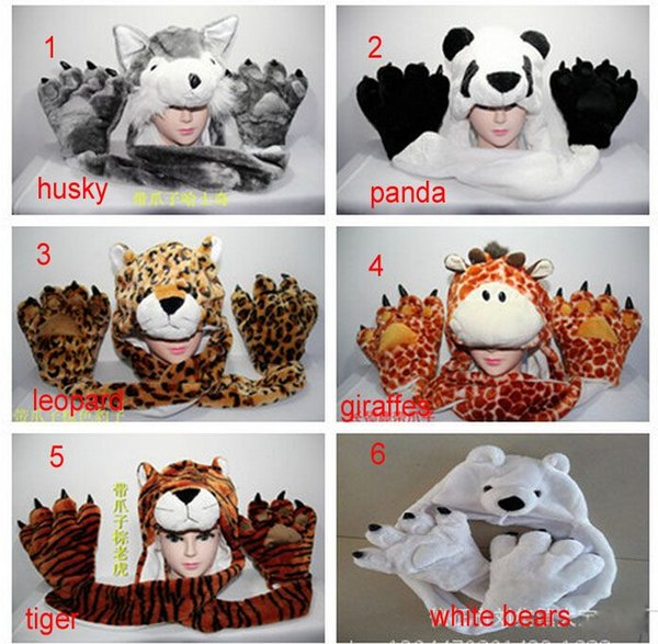 New Fashion winter animal hat even paw gloves 3 syncretic plush hat tiger Hats Scarves & Gloves Sets child Unisex gifts 5pcs