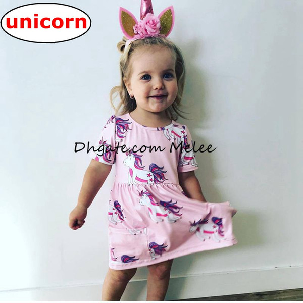 top popular ins girls summer unicorn full print Princess dresses infant toddlers pink short sleeved cotton dress top tees 2020