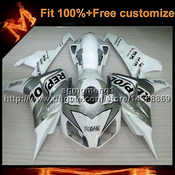 23colors+8Gifts Injection mold SILVER motorcycle panels Body Kit For Honda CBR1000RR 2006-2007 06 07 motor cover ABS Plastic Fairing