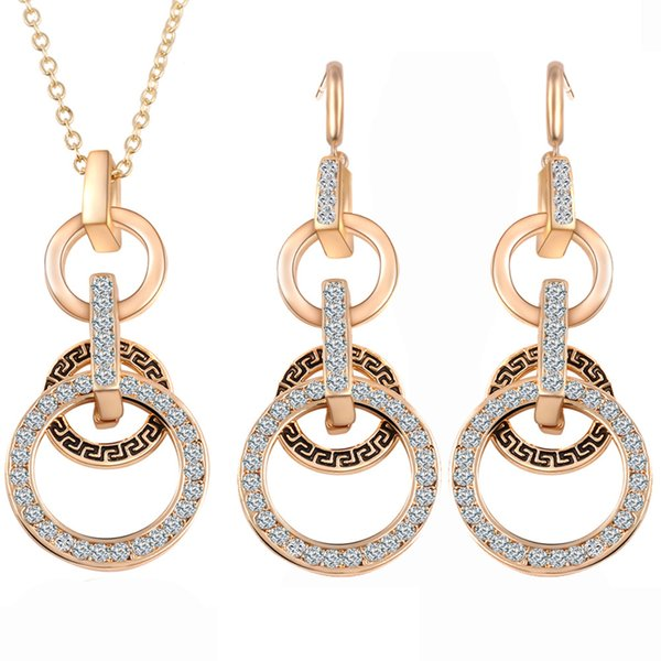 Bridesmaid Jewelry Set Wedding Crystal Pendant Necklace Earring Indian African Fashion Jewelry Dubai 18K Gold Jewellrey Party Jewelry Set