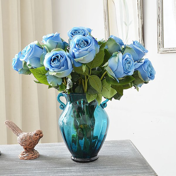 Bridal bouqet Artificial flowers Rose Home Silk Decorative Flowers Wedding Bridal Bouquets kitchen display wedding decorations