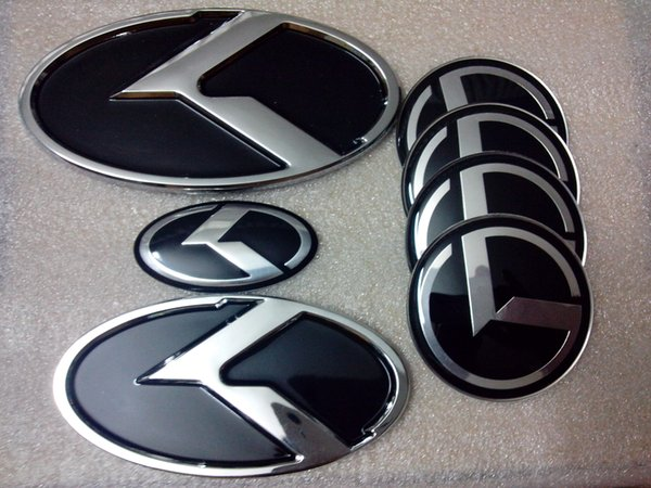 7pcsset New Black K Logo Badge Emblem Fit For Kia Optima K5