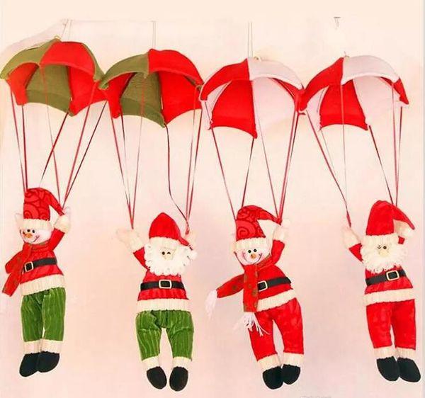 Muñeco de nieve Adorno Decoración Para El Hogar Paracaídas Papá Noel Muñeca Colgante Juguetes de Navidad Divertido Adorno de Navidad Decoración