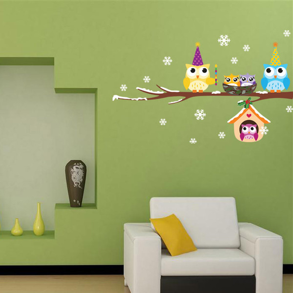 Owls on the Black Tree Branch Wall Decal Sticker Christmas Snowflake and Cute Owls Wall Art Murals Sticker Removable Kids Nursery Wall Decor