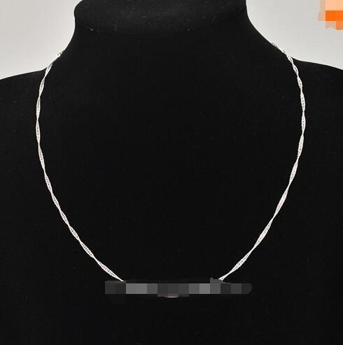 VENTA !! 925 Sterling Silver Water Wave Ripple Necklace Chain Chic Joyería de moda Jewel 20pcs