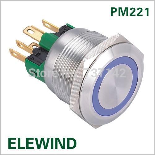 ELEWIND 22mm Edelstahl Ring beleuchtet Tastschalter (PM221F-11E / B / 12V / S)