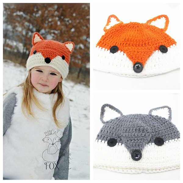 Cute Fox Beanie for Babies Crocheted Animal Shaped Hats Hand Knitted Winter Caps Fashion Kids Ear Warmers