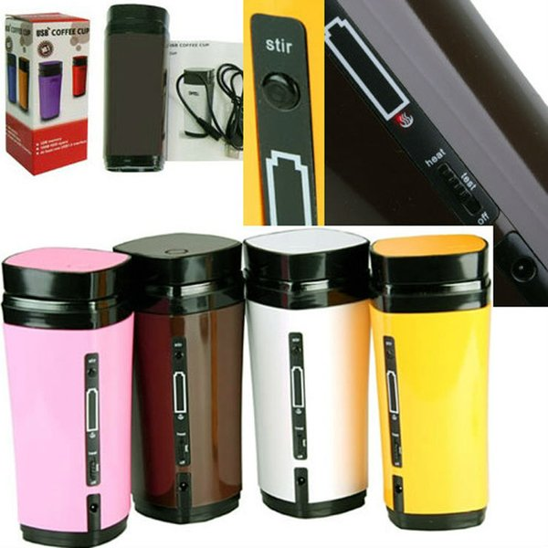 New Rechargeable USB Electric Heating Automatic Stirring Insulated Coffee Milk Tea Travel Mug Thermos Cup & Lid Warmer Free Ship