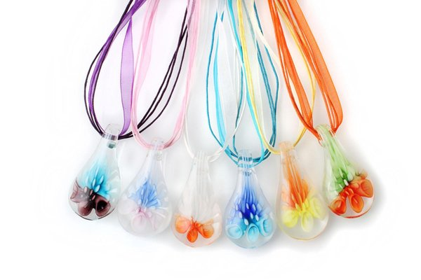 2016 New Fashion Handmade Drop Flower 3D Clearly Murano Glass pendant necklace Handmade Jewelry Wholesale Lots Colorful 6pcs Mix Color