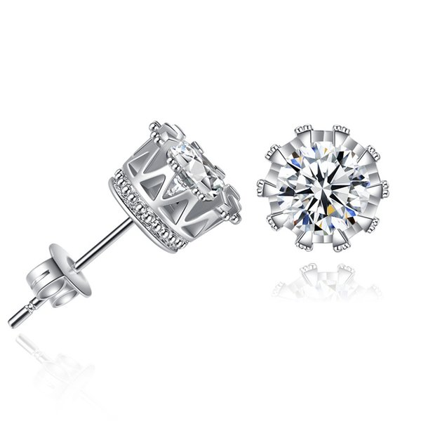 best selling 925 silver earrings Round Purple Earring Rhinestone bijoux Sliver Color Earrings Stud For Women Fashion Jewelry Brincos 2017