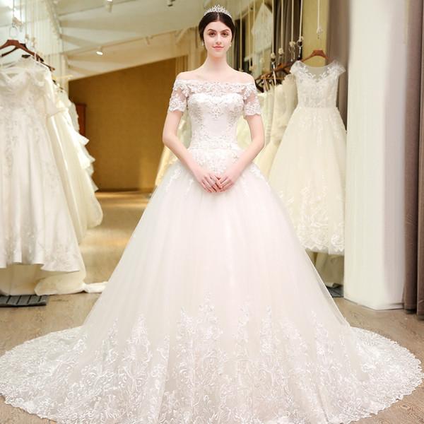 Vestido De Noiva Princesa Newest Summer Lace Wedding Dress Short Sleeve Sequins Beaded Handmade Bridal Gowns