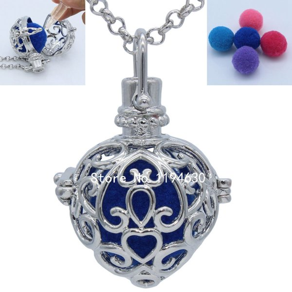 Silver Tone Copper Hollow Heart Floating Locket Openable Pendant Fragrance Aromatherapy Essential Oil Diffuser Chain Necklace Jewelry Charms
