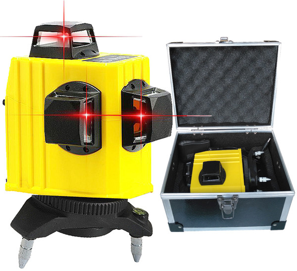 Freeshipping Professional 12 line laser level 360 Rotary Self-leveling Cross Line 3D Leveling Tools Red Beam Vertical And Horizontal