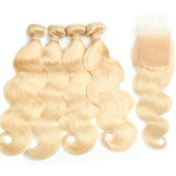Brazilian Virgin Hair 4 bundles with closure #613 Blond Body Wave hair virgin brazilian hair blonde lace closure with bundles
