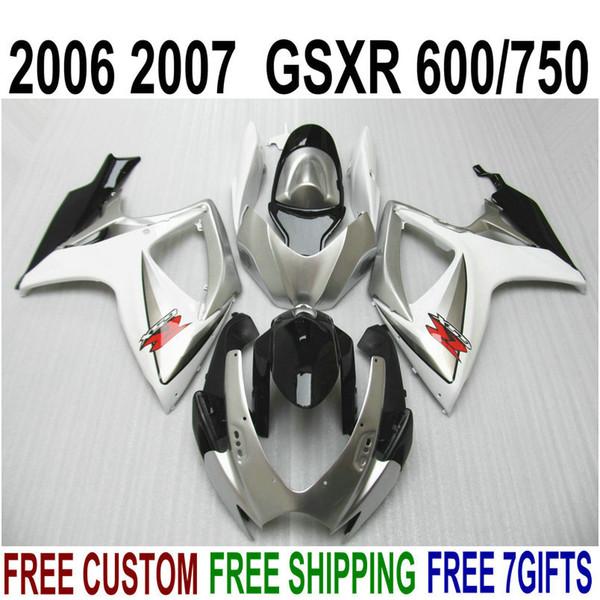 ABS motorcycle fairing kit for SUZUKI GSXR600 GSXR750 06 07 K6 GSXR 600/750 2006 2007 silver black fairings set V10F