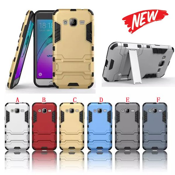 Stand Hybrid Armor Case For Samsung Galaxy J3 Motorola Moto X Force Droid Turbo 2 E3 Huawei Honor V9 Play 5X Hard PC TPU IronMan Cover 50pcs