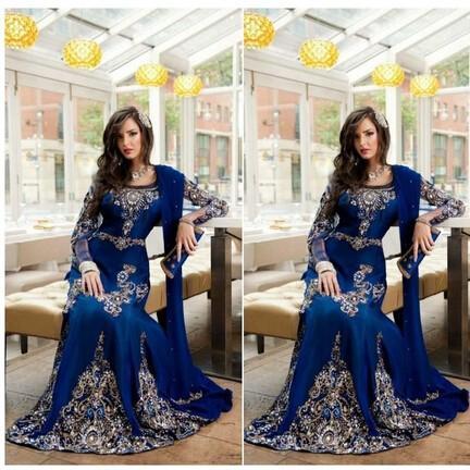 Royal Blue Luxury Crystal Musulmano Arabo Abiti Da Sera Applique Pizzo Abaya Dubai Caftano Lungo Plus Size Formal Celebrity Abiti BA0718