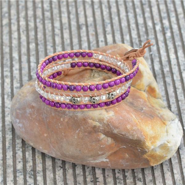 Purple agate and crystal beads skull bracelet, free shipping retail and wholesale genuine leather wrap bracelet